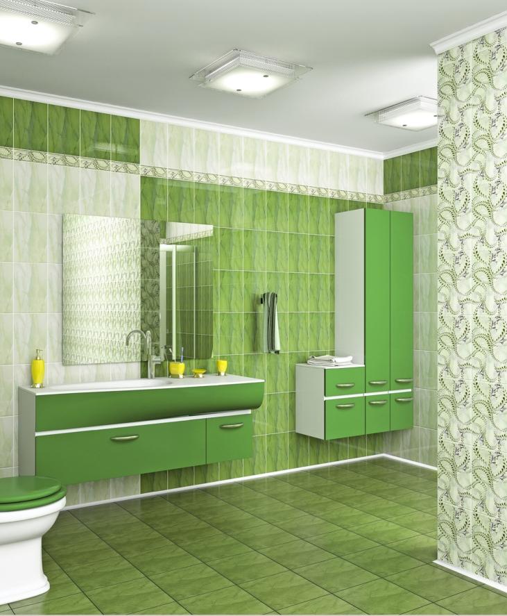 Green tile bathroom