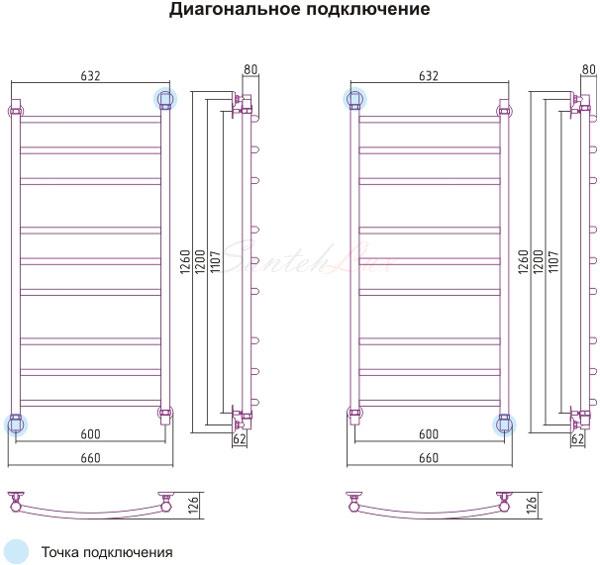 Полотенцесушитель Арго Универсал Д 500x800 ТЭН 300Вт