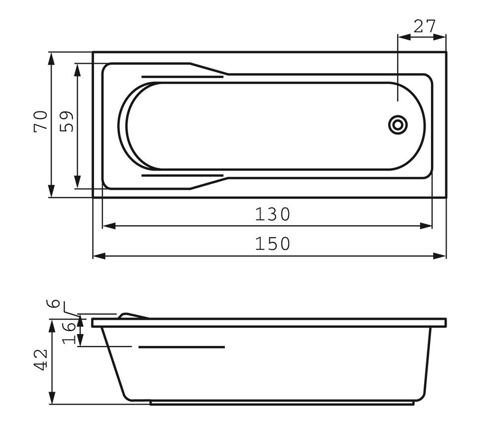 ванна behappy 160x75 схема размеров
